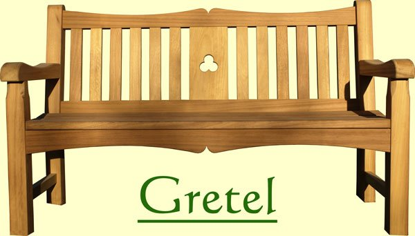 Picture showing that the name of this bench is Gretel