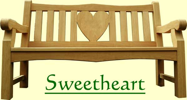 Picture showing that the name of this bench is Sweetheart