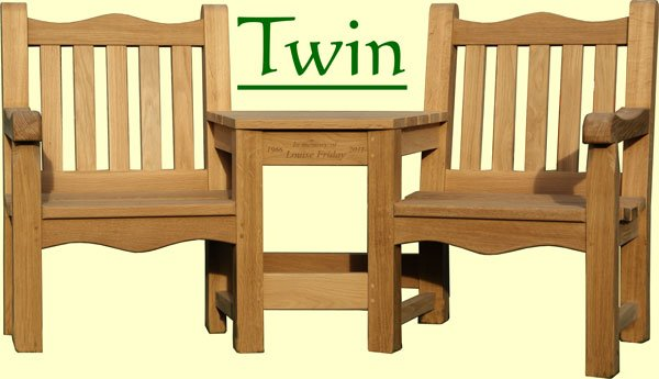 Picture showing that the name of this bench is Twin seat