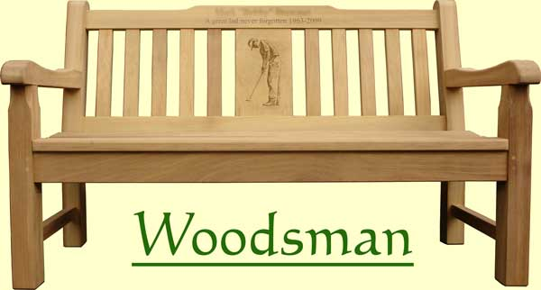 Picture showing that the name of this bench is Woodsman
