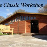 The main workshop at Classic with a sweetheart bench outside