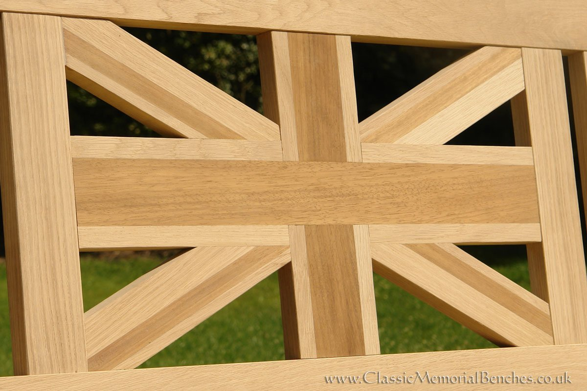 Close up of a panel made up of both oak and iroko which create a union jack pattern