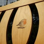 Close up resin inlay of a robin