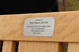 Close up of a rectangular memorial plaque