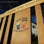 Iroko bench dedicated to an after-school club