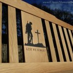 Memorial bench for remembrance day