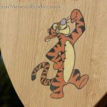 A close up of a resin inlay of Tigger from Winnie the Pooh