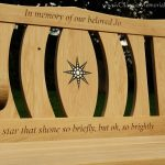 Oak memorial bench with a star resin inlay