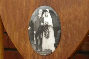 Photo plaque of a couple on their wedding day