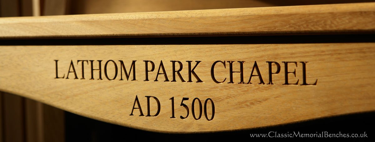Close up engraving which says 'LATHOM PARK CHAPEL AD1500'