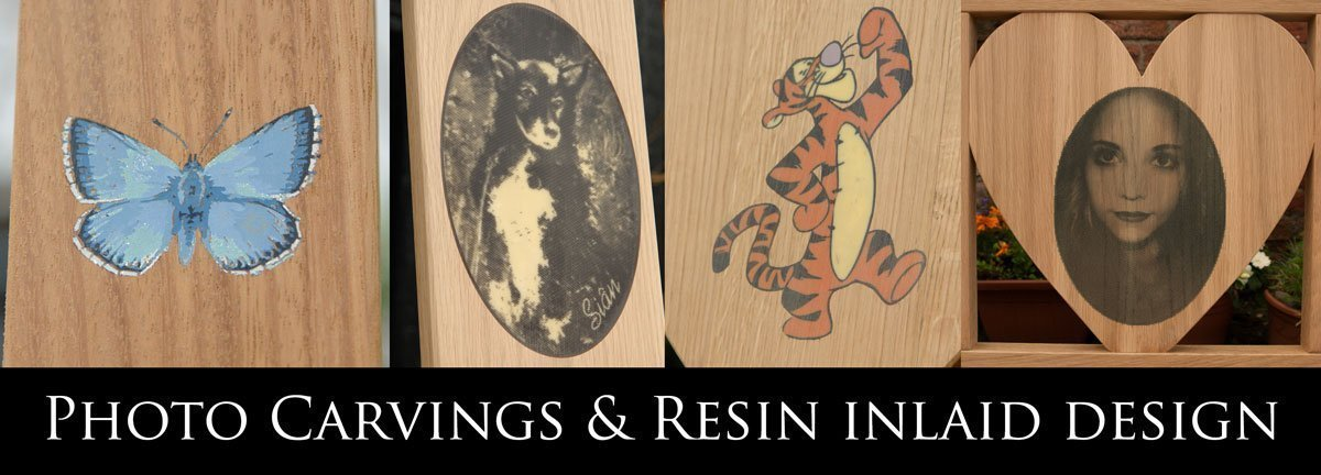 Four examples of photo carvings and resin inlays