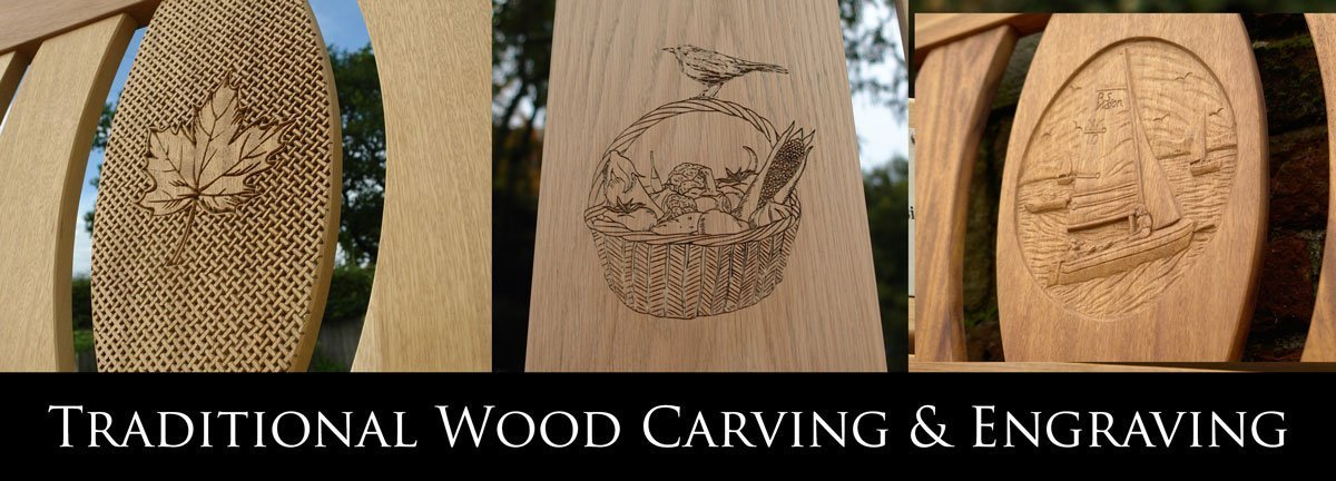 Three examples of wood carvings and engravings