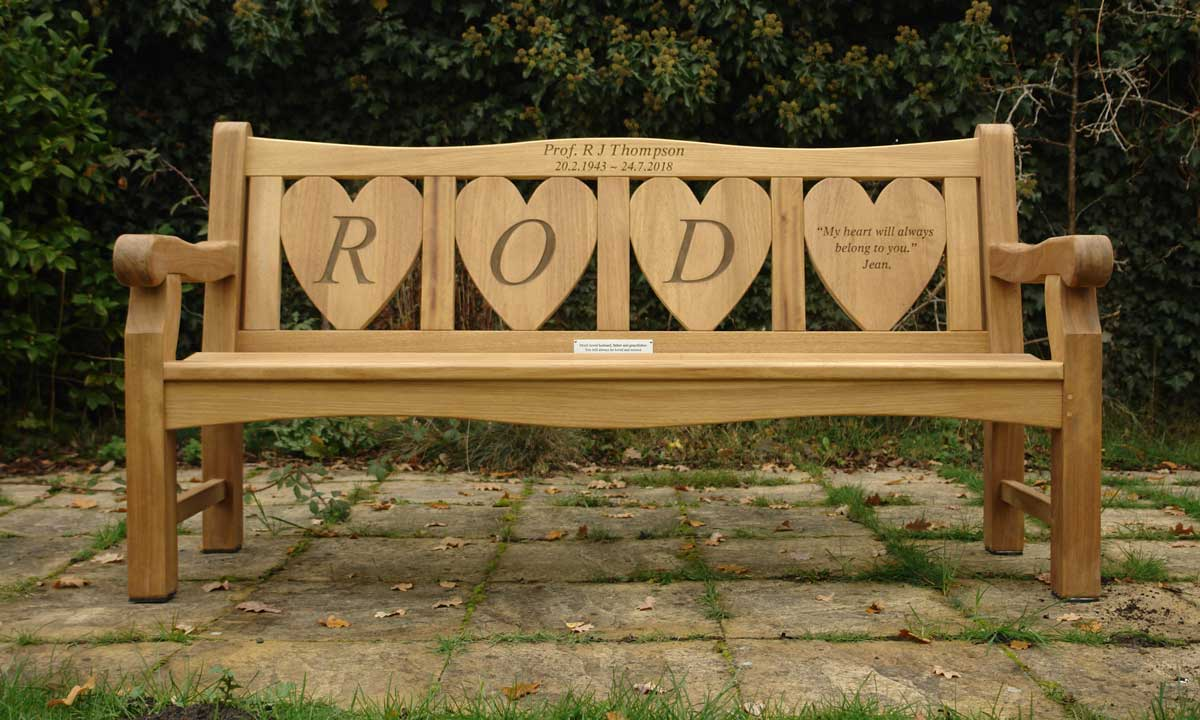 Classic Sweetheart memorial bench with four hearts